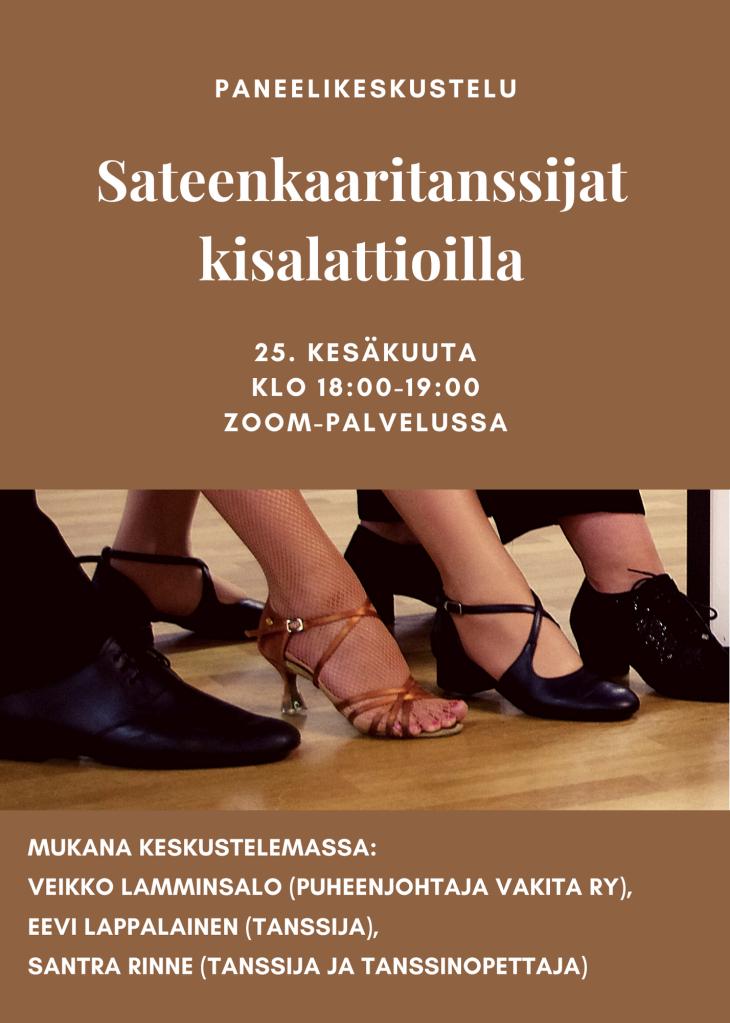 Paneelikeskustelu: Sateenkaaritanssijat kisalattioilla 25. kesäkuuta klo 18:00-19:00 Zoom-palvelussa. Kuva: Ihmisten jalkoja erilaisilla tanssikengillä rivissä. Mukana keskustelemassa: Veikko Lamminsalo (puheenjohtaja Vakita ry), Eevi Lappalainen (tanssija), SanTra Rinne (tanssija ja tanssinopettaja).