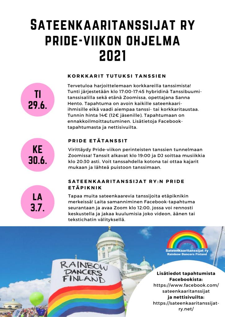 Sateenkaaritanssijat ry:n Pride-viikon ohjelma ja tapahtumien kuvaukset. Tapahtumapäivät ovat pinkkien pallojen sisällä ja vieressä tapahtumakuvaukset. Ohjelman alla kuva Tuomiokirkosta Pride-kulkueen aikana ja kyltti Rainbow Dancers Finland.